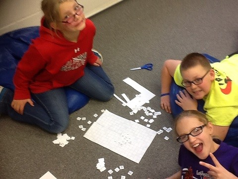 Today is National Scrabble Day, so the fifth graders celebrated by playing scrabble on their early out afternoon.