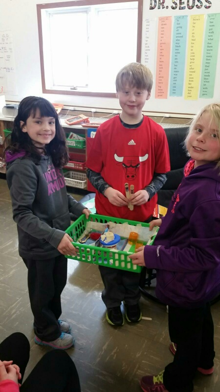 Students recreate Goldie Locks and the Three Bears in a small basket with only the materials they have in class and recycling.  They then reenact the story for the rest of the class.